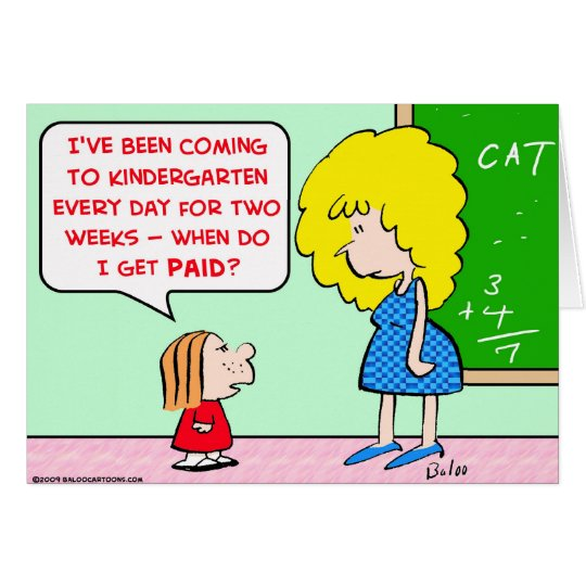 kindergarten teacher paid card
