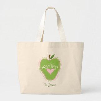 Kindergarten Teacher Pink and Green Apple Tote Bags