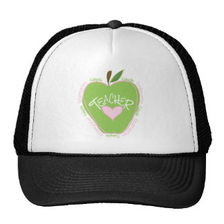 Kindergarten Teacher Pink and Green Apple Mesh Hats