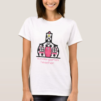 Kindergarten Teacher Polka Dot Schoolhouse T-Shirt