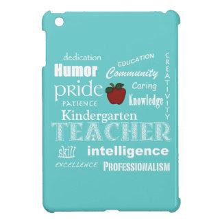 Kindergarten Teacher Pride+Red Apple-Soft Aqua iPad Mini Cover
