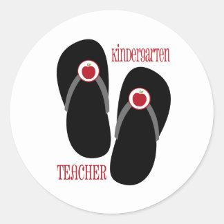 Kindergarten Teacher Red Apple Flip Flops Round Stickers