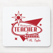 Kindergarten Teacher Retro Red 60's Inspired Sign Mouse Pad