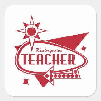 Kindergarten Teacher Retro Red 60's Inspired Sign Sticker
