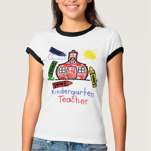 Kindergarten Teacher T Shirt- Schoolhouse & Crayon T Shirt