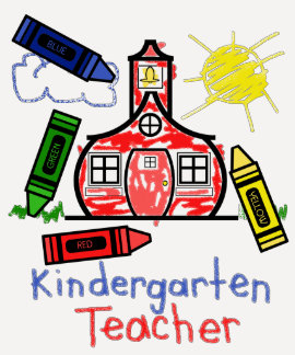 Kindergarten Teacher T Shirt- Schoolhouse & Crayon Tee Shirt
