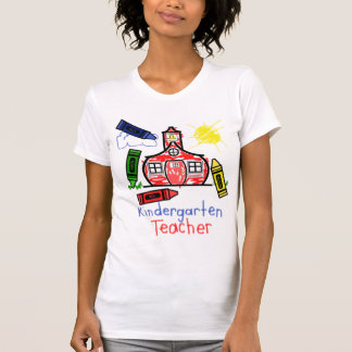 Kindergarten Teacher T Shirt- Schoolhouse & Crayon Tees