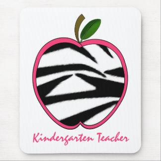 Kindergarten Teacher Zebra Print Apple Mouse Pad