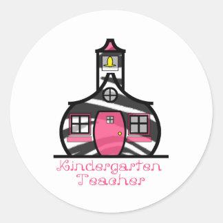 Kindergarten Teacher Zebra Print Schoolhouse Sticker