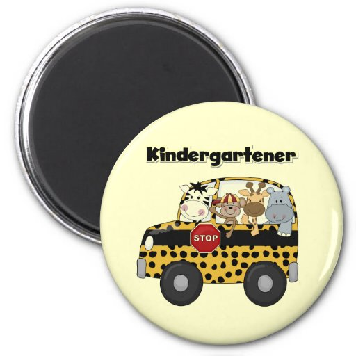 Kindergartener de los animales del parque zoológic imán redondo 5 cm