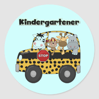 Kindergartener de los animales del parque zoológic pegatina redonda