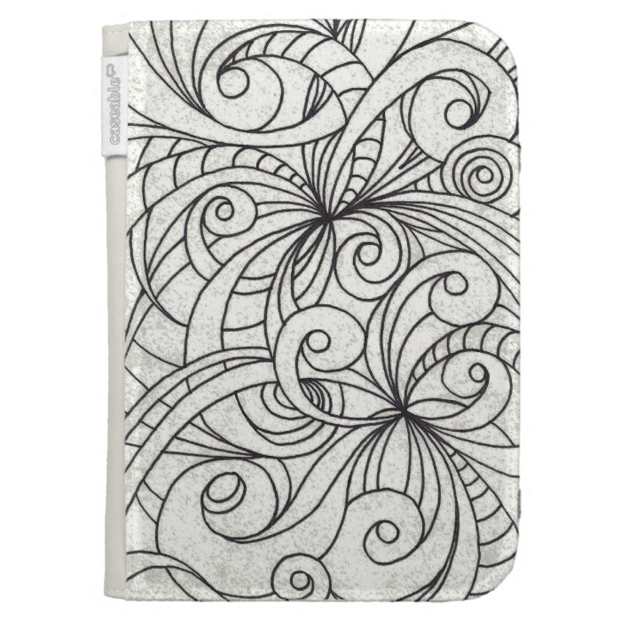 Kindle Case Floral Doodle Drawing