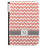Kindle Custom Monogram Grey Coral Chevrons Kindle Cases