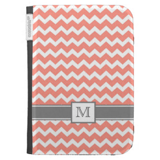 Kindle Custom Monogram Grey Coral Chevrons Kindle Cases