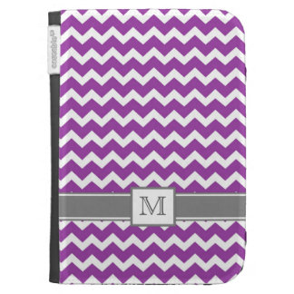 Kindle Custom Monogram Grey Purple Chevrons Kindle 3G Covers