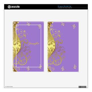 Kindle Fire Skin--Gold Swirls & Lavender Skin For Kindle Fire
