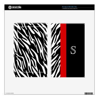 Kindle Zebra Print Monogram Skin Covers Kindle Fire Decal