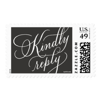 Kindly reply : RSVP reply stamp in white on gray