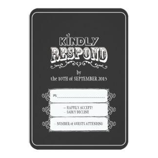 Kindly Respond Chalkboard Style Wedding RSVP Card Invitation