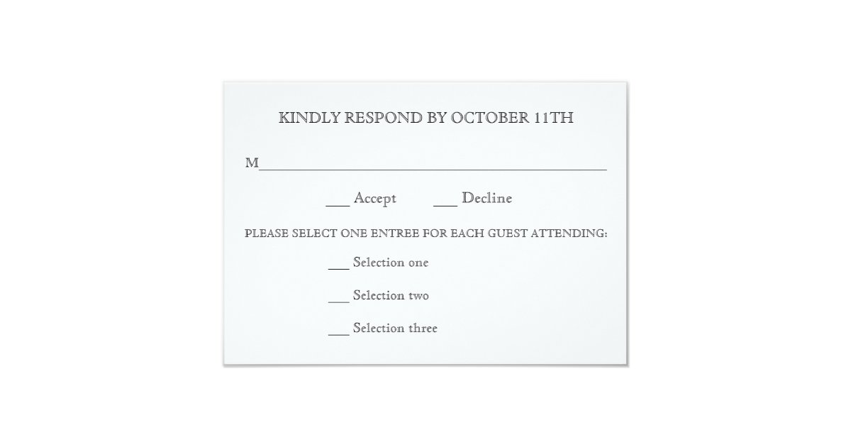 KINDLY RESPOND WEDDING RSVP 3 MENU CHOICES REPLY CARD