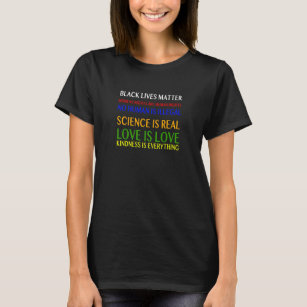 Science is Real Black Lives Matter Love is Love V Neck Fitted Women T-Shirt
