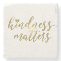 Kindness Matters Gold Heart inspirational quote Stone Coaster