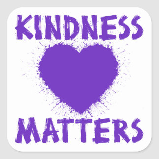 Kindness Matters, purple Square Sticker