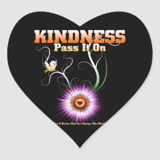 KINDNESS - Pass It On Starburst Heart Heart Sticker