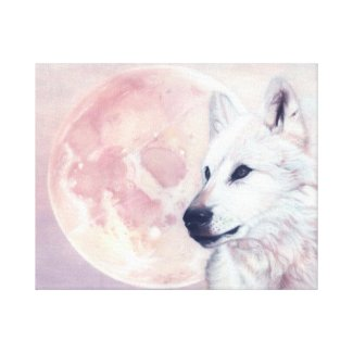 Kindred Spirits Wolf and Moon Canvas Print