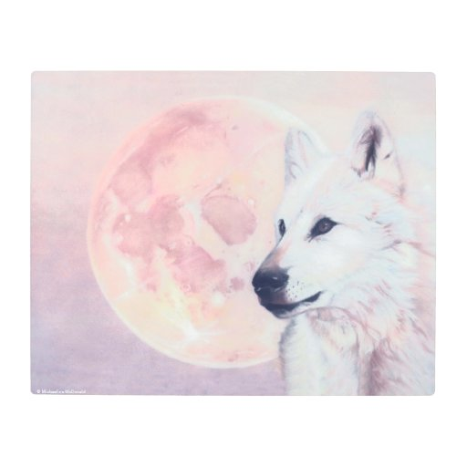 Kindred Spirits Wolf and Moon Metal Print