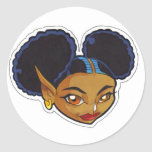 KINFfolkes AFRO PUFF Fairy Round Stickers