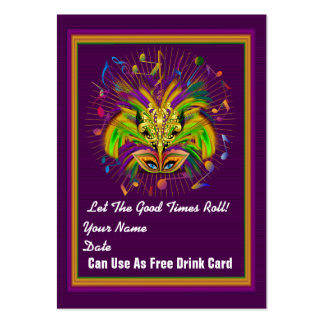 King 2 Queen Mardi Gras Throw Card See notes Large Business Cards (Pack Of 100)