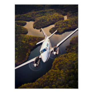 King Air Over Water Poster