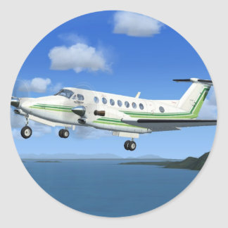 King-Air Turboprop Aircraft Classic Round Sticker