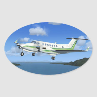 King-Air Turboprop Aircraft Oval Sticker