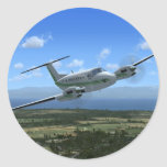 King-Air Turboprop Aircraft Round Stickers
