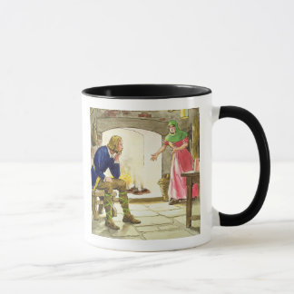 King Alfred (849-99) burning the cakes, from 'Peep Mug