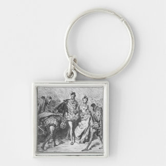 King and court Silver-Colored square keychain