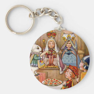 King and Queen at The Trial of the Knave of Hearts Basic Round Button Keychain