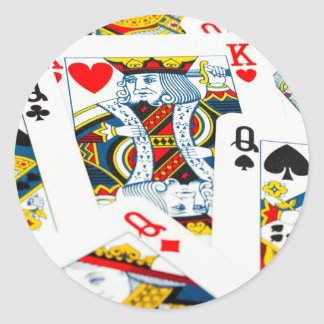 King and queen card classic round sticker