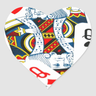 King and queen card heart sticker