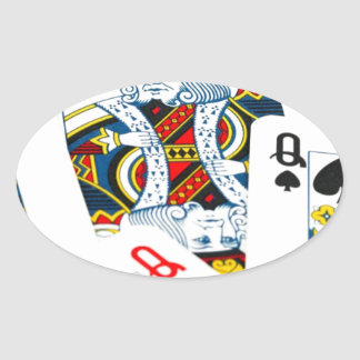 King and queen card oval sticker