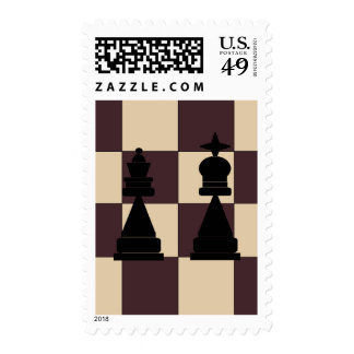 King and Queen Chess Pieces Postage Stamps