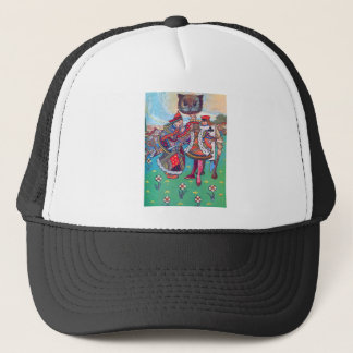 King and Queen of Hearts and the Cheshire Cat Trucker Hat