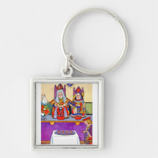 King And Queen of Hearts at Knave of Hearts Trial Silver-Colored Square Keychain