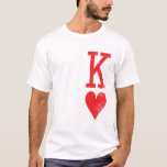 """King and Queen of Hearts Playing Cards Couples T-Shirt<br><div class=""""desc"""">This couples tattoo-inspired design features a grunge,  &quot;K&quot; and a heart mens shirt and an upside down &quot;Q&quot; and a heart women shirt. This would make a great bridal shower and wedding gift for a bride and groom or a cute couples gift for a boyfriend or girlfriend.</div>"""