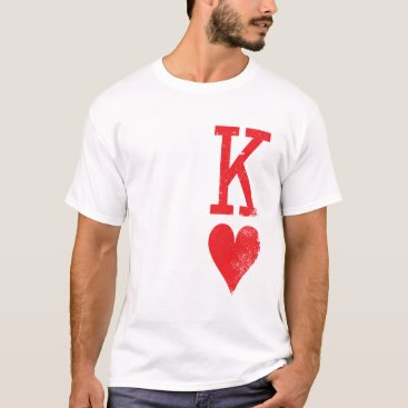 Valentines Themed King and Queen of Hearts Playing Cards Couples T-Shirt