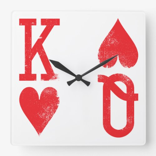 King and Queen of Hearts Playing Cards Game Room Square Wall Clock