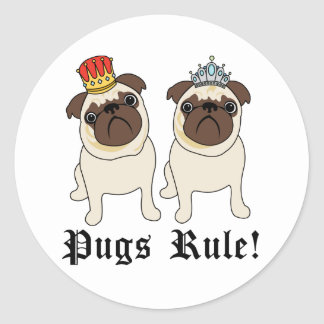 King and Queen Pugs Rule Stickers