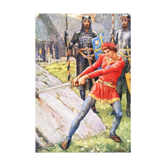 King Arthur draws the sword from the Stone Canvas Print